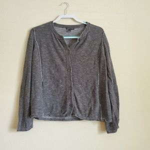 Eileen Fisher Grey Cropped Sweater Size Large
